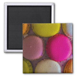Bunter Macarons geschmackvoller gebackener Quadratischer Magnet