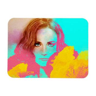 Bunter Mädchen-Popkunst Foto-Magnet - intensiv Magnet