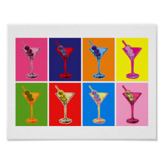 Bunter Martini-Cocktail-Druck Poster
