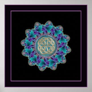 Bunter metallischer keltischer Knoten-Mandala-Druc Poster