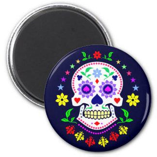 Bunter mexikanischer Tag des toten Zuckerschädels Runder Magnet 5,1 Cm