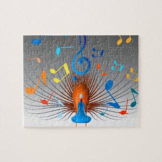 Bunter musikalische Anmerkungs-Pfau Puzzle