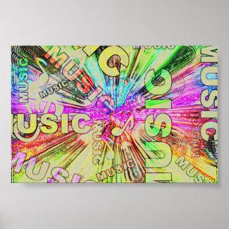 Bunter Musiknoten Poster