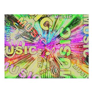 Bunter Musiknoten Postkarte
