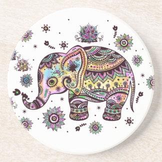 Bunter niedlicher Elefant auf grauem Marmorstein Sandstein Untersetzer
