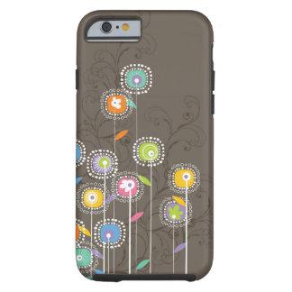 Bunter niedlicher Retro Blumen-Brown-Hintergrund Tough iPhone 6 Hülle