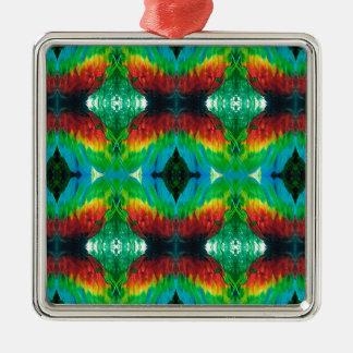Bunter Papagei versieht Muster mit Federn Silbernes Ornament