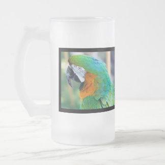 Bunter Papageien-mattierte Bier-Tasse Matte Glastasse