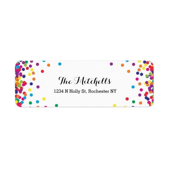 Bunter Partyconfetti-Rücksendeadressen-Aufkleber Rücksende Aufkleber