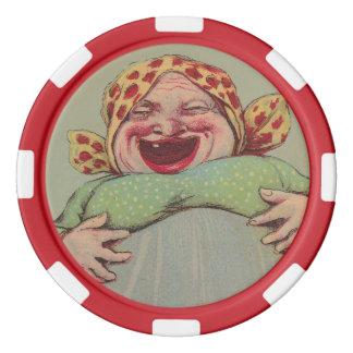 Bunter Poker bricht verrückter Spaß-lachende Dame Poker Chips