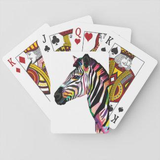 Bunter Pop-KunstZebra auf weißem Hintergrund Spielkarten