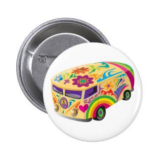 Bunter psychedelischer gemalter Bus Anstecknadel