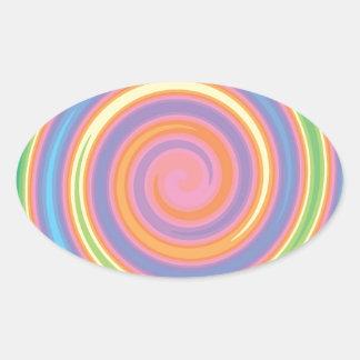 Bunter psychedelischer Pinwheelstrudelentwurf Ovaler Aufkleber