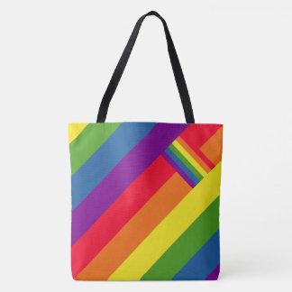 Bunter Regenbogen Stripes Feier mit Flagge Tasche