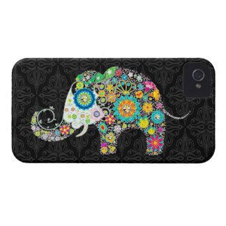 Bunter Retro Blumen-Elefant-Entwurf