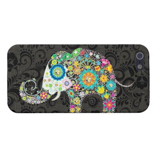 Bunter Retro Blumen-Elefant-Entwurf 4 iPhone 5 Schutzhüllen