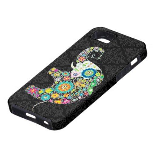 Bunter Retro Blumen-Elefant-Entwurf Schutzhülle Fürs iPhone 5