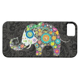 Bunter Retro Blumen-Elefant-Entwurf iPhone 5 Schutzhüllen