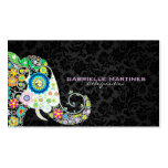 Bunter Retro Blumenelefant u. schwarze Damaste Visitenkarten
