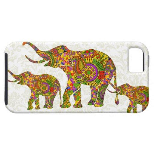 Bunter Retro Entwurf des Blumen-Elefant-4 Etui Fürs iPhone 5