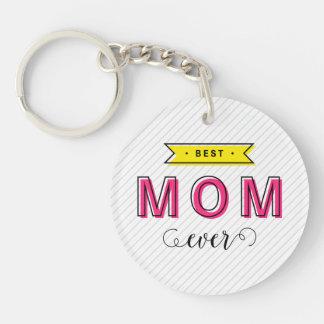 Bunter rosa gelber moderner Spaß-beste Mamma Schlüsselanhänger