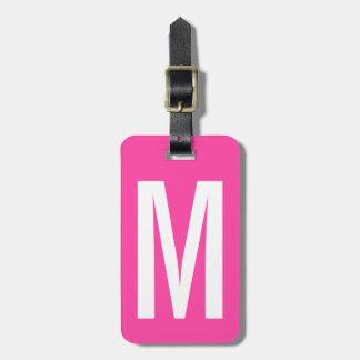 Bunter rosa Monogrammreise-NeonGepäckanhänger Kofferanhänger