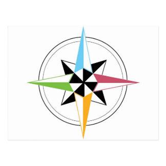 Bunter Schiffs-Kompass Postkarte