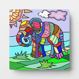 Bunter schöner folcloristic künstlerischer Elefant Fotoplatte