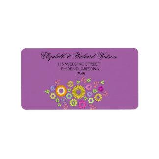 Bunter Sommer Blumenhochzeits-Adressen-Etikett Adressaufkleber