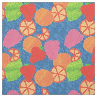 Bunter Sommer trägt Muster auf tiefem Blau Früchte Stoff