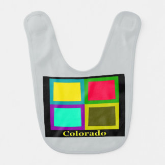 Bunter Staat der Colorado-Pop-Kunst-Karte Babylätzchen