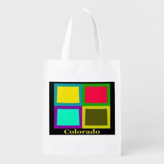 Bunter Staat der Colorado-Pop-Kunst-Karte Wiederverwendbare Einkaufstasche