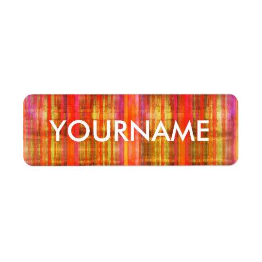 Bunter Streifen-Kunst-Muster-Namen-Aufkleber Rückversand-Adressaufkleber