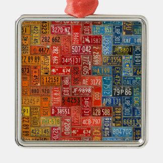 Bunter Teller von allen 50 Staaten Silbernes Ornament
