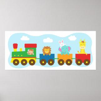 Bunter Tier-Zug, für Kinderraum Poster