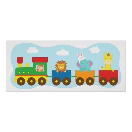 Bunter Tier-Zug, für Kinderraum Posterdrucke