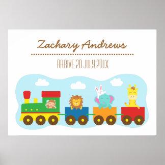 Bunter Tier-Zug, für Kinderschlafzimmer Plakate