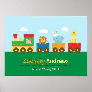 Bunter Tier-Zug, für Kinderschlafzimmer Poster