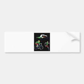 Bunter Triathlon-Entwurf Autoaufkleber