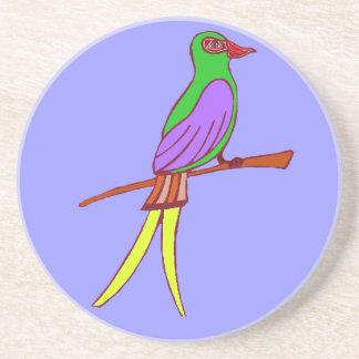 Bunter tropischer Vogel auf amethyst Hintergrund Sandstein Untersetzer