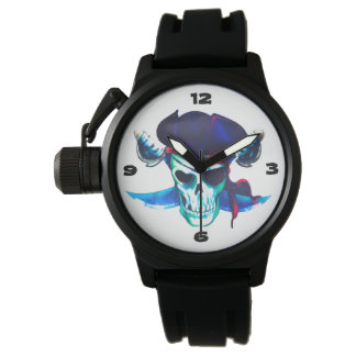 Bunter und Spaß-Piraten-Schädel u. gekreuzte Uhr