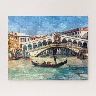 Bunter Venedig-Kanal-große Aquarell-Malerei Puzzle