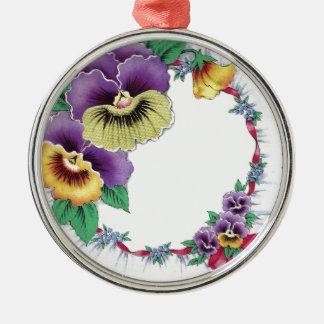 Bunter Vintager Blumenpansy-runde Verzierung Rundes Silberfarbenes Ornament