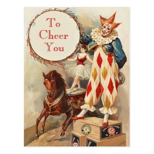 Bunter Vintager Zirkus-Clown Postkarte