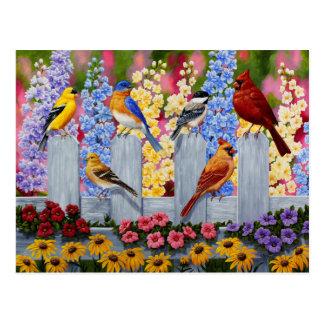 Bunter Vogel-Blumen-Garten Postkarte