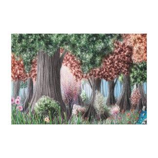Bunter Wald und Blumen Leinwanddruck