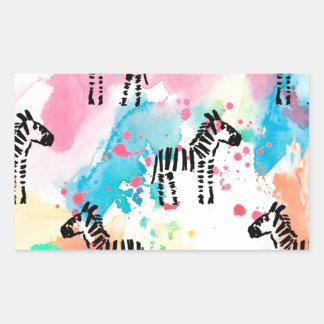 Bunter Wasserfarbe Zebradruck Rechteckiger Aufkleber