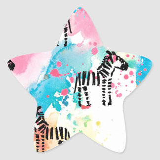 Bunter Wasserfarbe Zebradruck Stern-Aufkleber