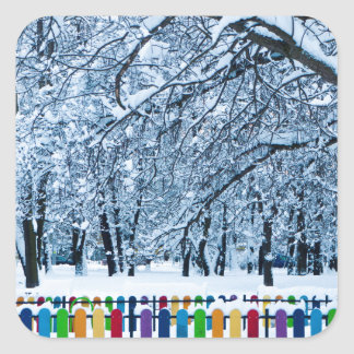 Bunter Winter-Zaun Quadratischer Aufkleber