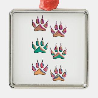 Bunter Wolf-Druck Silbernes Ornament